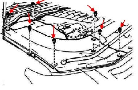 the scheme of fastening of the front bumper of the Lexus LX (after 2007)