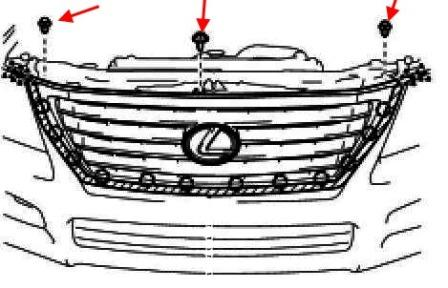 the scheme of fastening of the grille Lexus LX (after 2007)