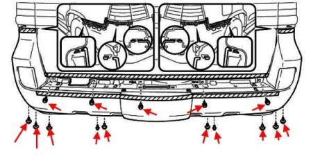 diagram of rear bumper Lexus LX (after 2007)