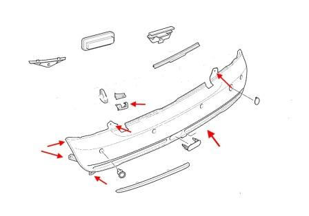 the scheme of fastening of the rear bumper Mini One, Cooper, Clubman, Countryman