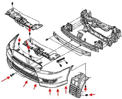 scheme of fastening of front bumper Mitsubishi Lancer CX, CY, CZ (Lancer Evolution, Lancer Sportback) (after 2007)