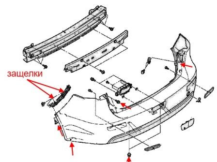 diagram of rear bumper Mitsubishi Lancer CX, CY, CZ (Lancer Evolution, Lancer Sportback) (after 2007)