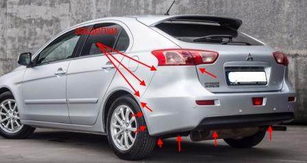 the attachment of the rear bumper Mitsubishi Lancer CX, CY, CZ (Lancer Evolution, Lancer Sportback) (after 2007)