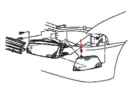 the scheme of fastening of the turn signal Mitsubishi Mirage