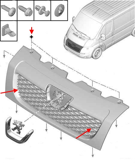 the scheme of fastening of the grille Peugeot Boxer (Citroën Jumper, Fiat Ducato) (since 2006)