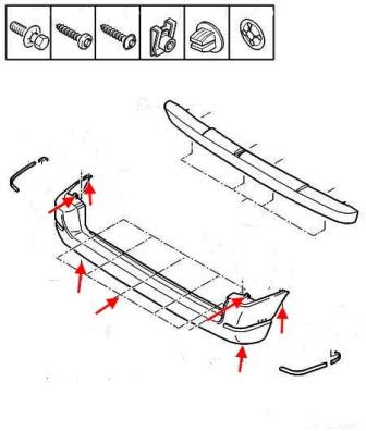 the scheme of fastening of the rear bumper Peugeot Partner (Citroën Berlingo) (1996-2002)