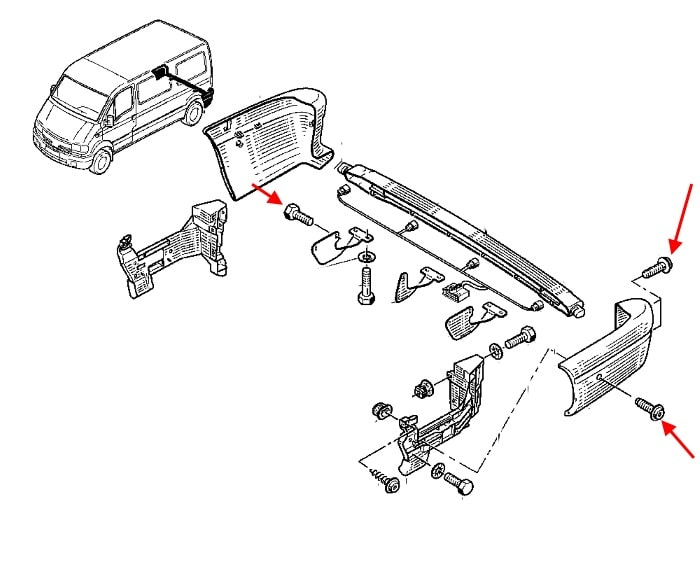 Diagram of rear bumper on a Renault Master 2 (1997-2010)