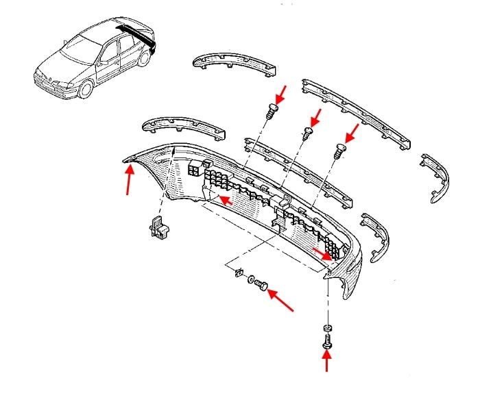 the scheme of fastening of the rear bumper Renault Megane 1 (1995-2002)