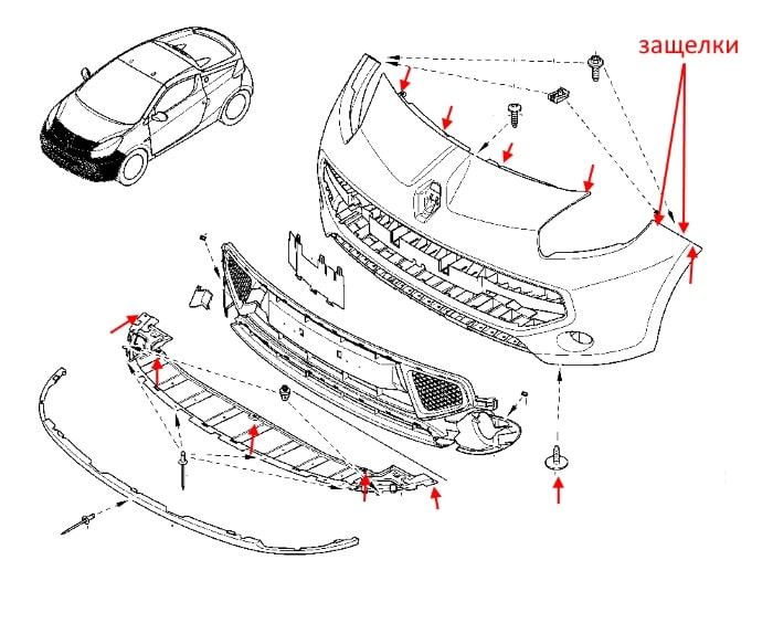 The scheme of fastening of the front bumper Renault Wind