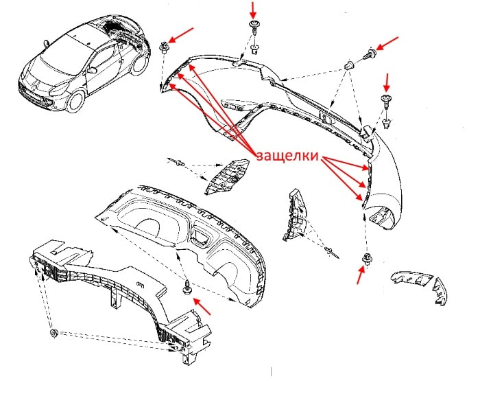The scheme of fastening of the rear bumper Renault Wind