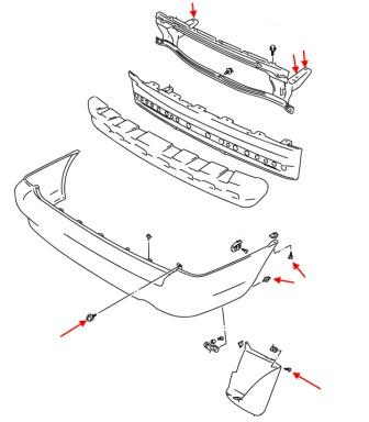 diagram rear bumper Suzuki Baleno