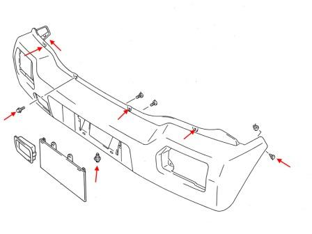 diagram rear bumper Suzuki Wagon R+
