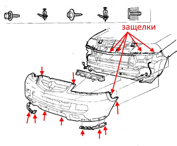front bumper mounting diagram Acura MDX (2001-2006)