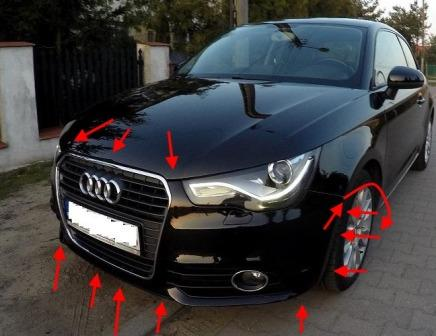 mounting points for the front bumper AUDI A1
