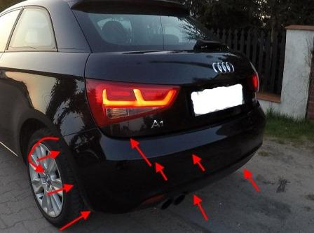 mounting points for the rear bumper AUDI A1
