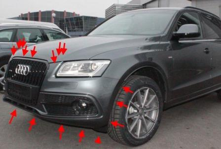 mounting points for the front bumper AUDI Q5