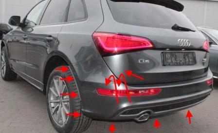 mounting points for the rear bumper AUDI Q5