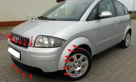 mounting points for the front bumper AUDI A2