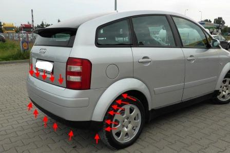 mounting points for the rear bumper AUDI A2