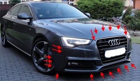 mounting points for the front bumper AUDI A5