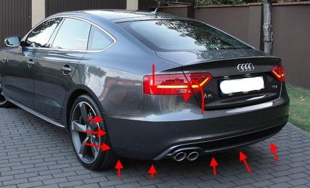 mounting points for the rear bumper AUDI A5