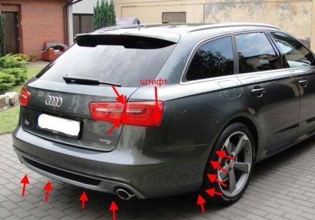 mounting points for the rear bumper AUDI A6 C7