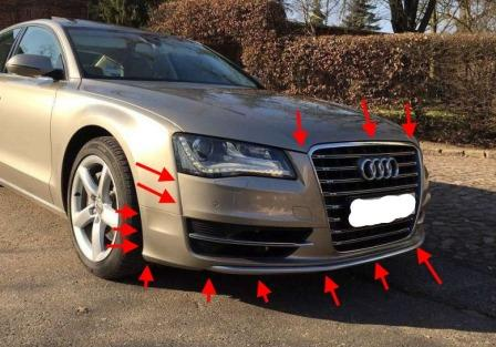 mounting points for the front bumper AUDI A8 D4