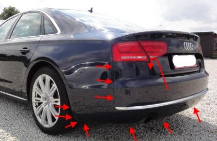 mounting points for the rear bumper AUDI A8 D4