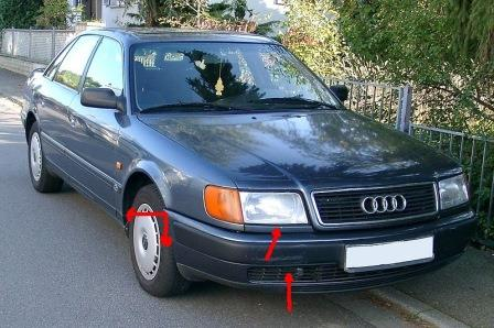 mounting points for the front bumper AUDI 100 C4