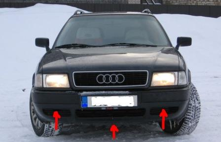 mounting points for the front bumper AUDI 80 B4