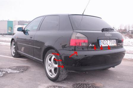 mounting points for the rear bumper AUDI A3 I (1996-2003)