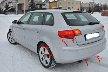 mounting points for the rear bumper AUDI A3 II (2003-2012)