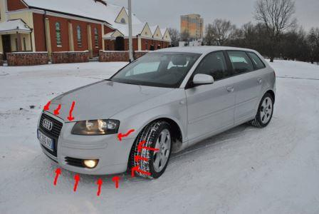 mounting points for the front bumper AUDI A3 II (2003-2012)