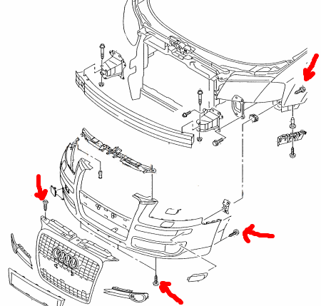 front bumper mounting scheme AUDI A3 II (2003-2012)