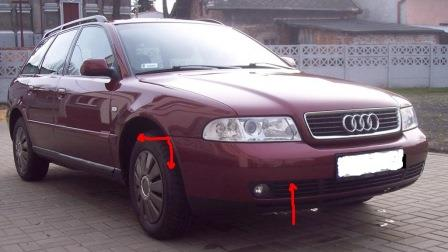 mounting points for the front bumper AUDI A4 B5