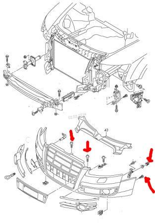 Как снять передний бампер?: Audi A6 (4F C6, 2 4 - 2 11