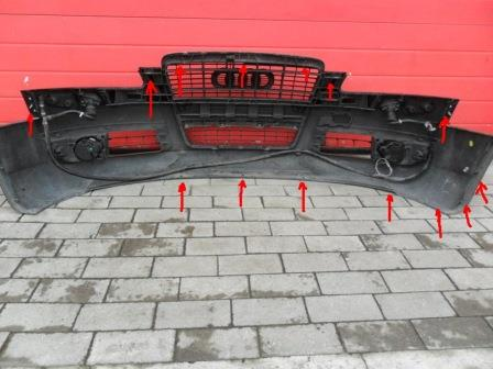 mounting points for the front bumper AUDI A6 C6