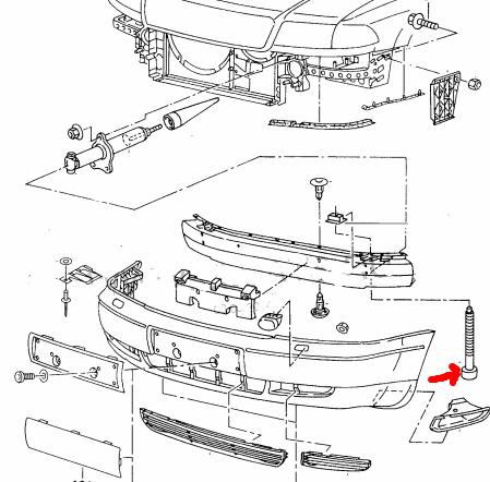 крепежи переднего бампера audi a6 c4