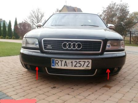 mounting points for the front bumper AUDI A8 D2