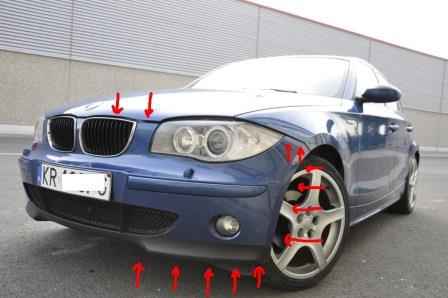 mounting points for the front bumper BMW 1-series