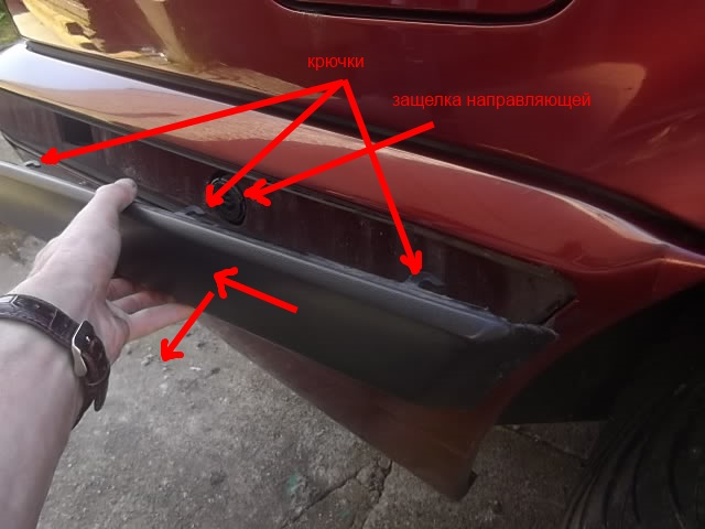 точки крепления заднего бампера BMW 5-series E34