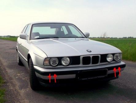 точки крепления переднего бампера BMW 5-series E34