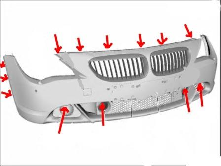 mounting points for the front bumper BMW 6-series E63 (E64)