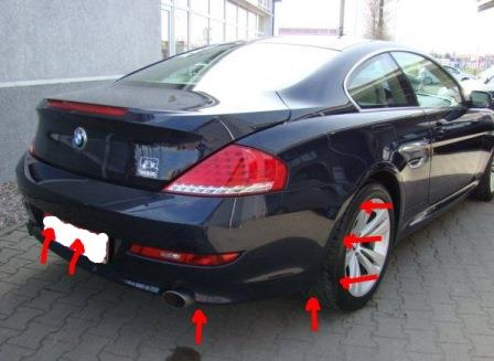 mounting points for the rear bumper BMW 6-series E63 (E64)