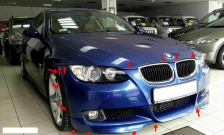 mounting points for the front bumper BMW 3-series E90
