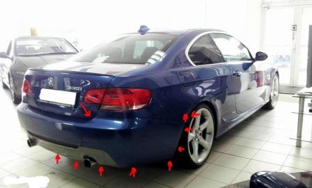 mounting points for the rear bumper BMW 3-series E90