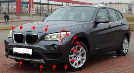 mounting points for the front bumper BMW X1 (E84)