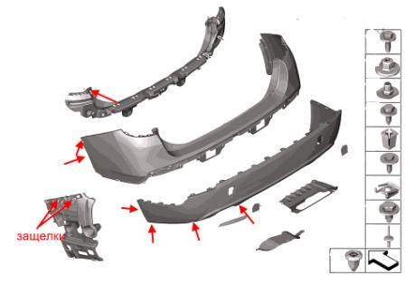 rear bumper mounting scheme BMW X1 (E84)