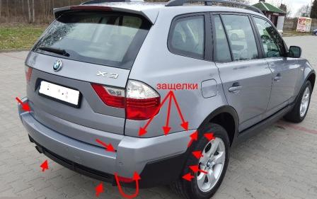 mounting points for the rear bumper BMW X3 (E83)