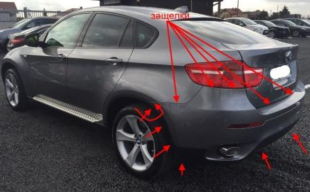 mounting points for the rear bumper BMW X6 (E71)